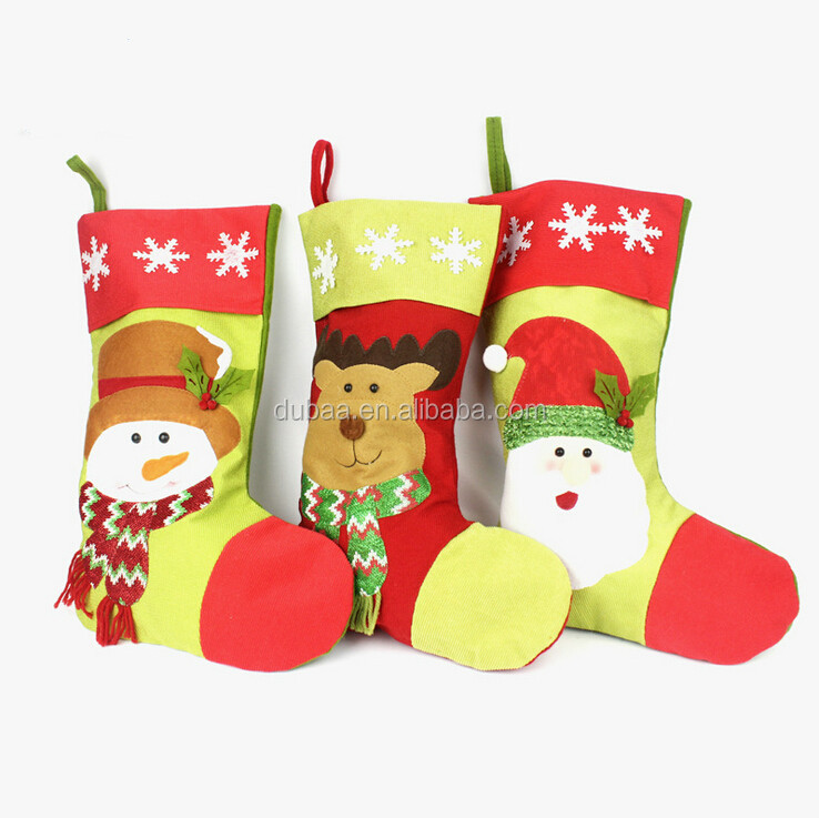 New Christmas Snowman Santa Claus Rein Deer Xmas Plush Candy Gift Bags Hanger Indoor Hanging Stockings Socks