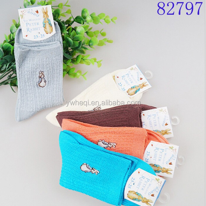quality goods embroidered pattern natural fiber bamboo socks
