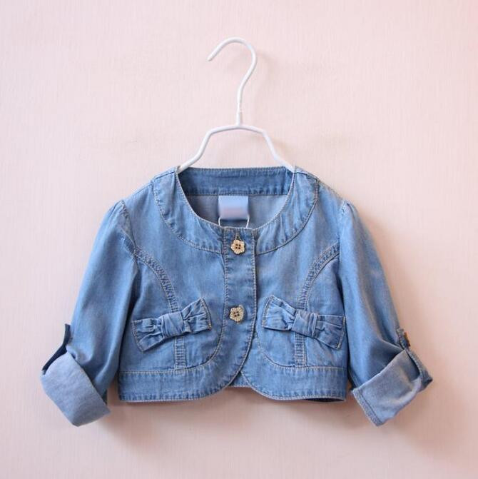 Y1610940 Retail 2016 New Spring Baby Girl Jacket Denim Short Full Sleeve Toddler Girl Outerwear Bows