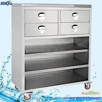 Kitchen Stainless Steel Mobile Storage Cabinet Commercial Restaurant Counter With Drawers