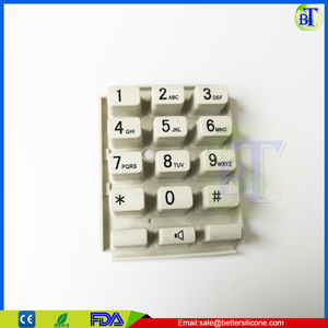 manufacture customized black color 4x4 rubber keypad