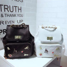 2017 New Chinese Style Fashion Ladies Shell bag girls white backpack bag for PU