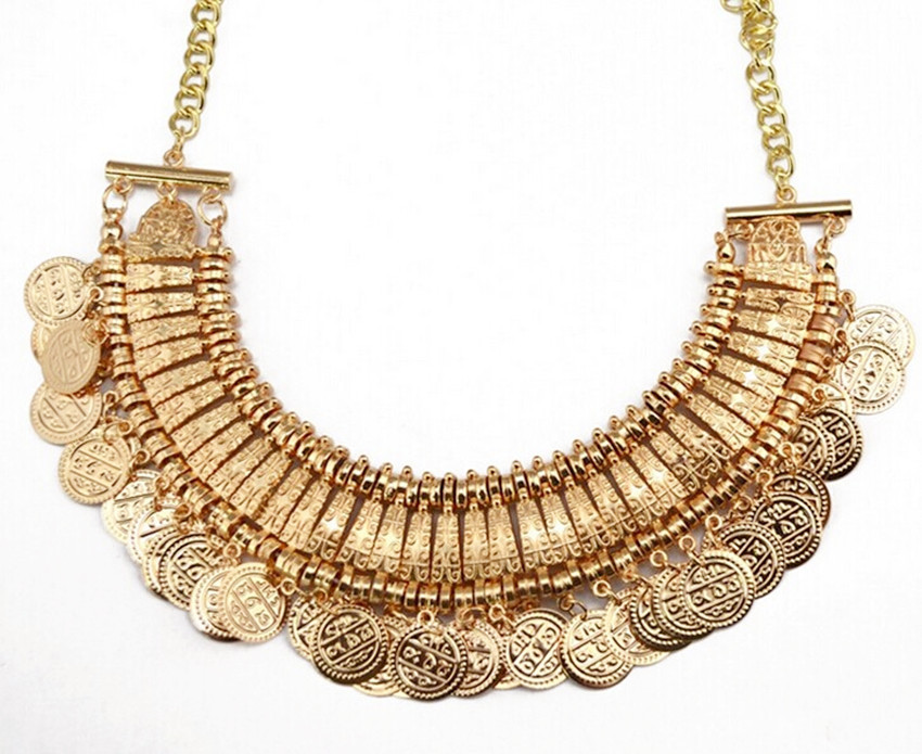 2015 Vintage Boho Coin chunky choker Necklaces Fashion accessories gold Turkish statement necklace Indian jewelry