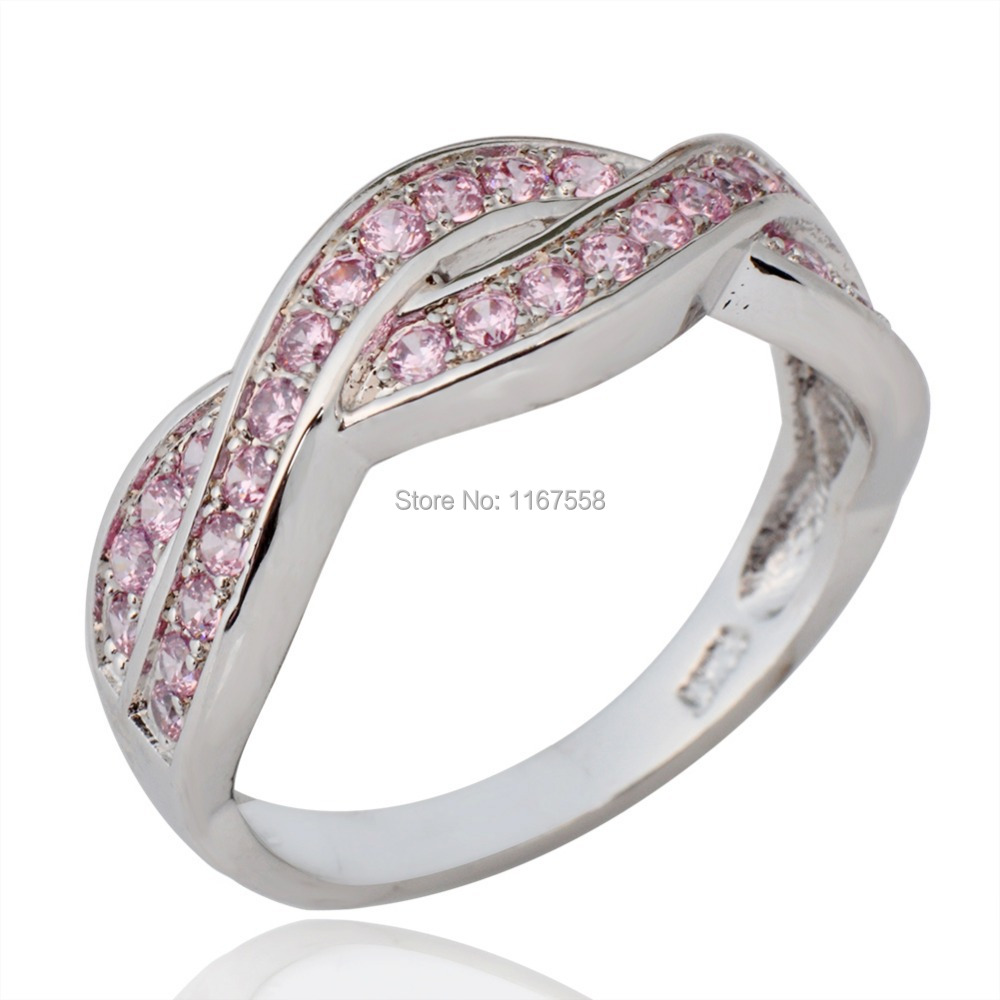 14KT White Gold Filled Rings Women Pink Sapphire Fashion Jewelry Finger Rings Size 6/7/8/9/10 High Quality RW0491-6/7/8/9/10