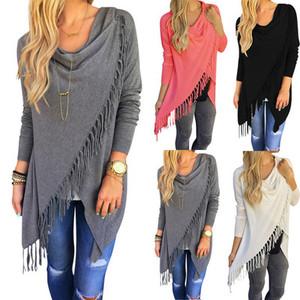 MY-210 2018 hot selling womens tassel shirts coat fall winter out wear casual long sleeve cardigan shirts multi-colors
