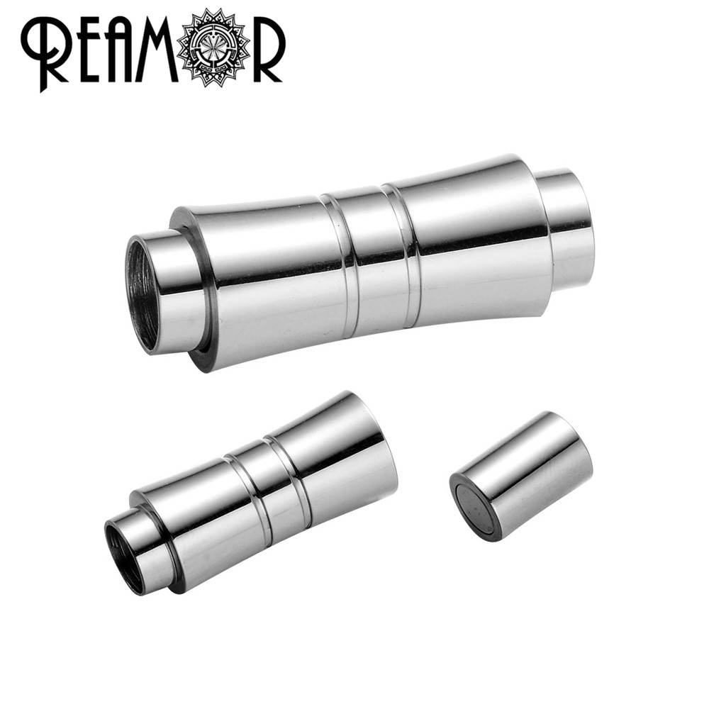 REAMOR 5pcs 316l Stainless Steel Magnetic Clasp Connectors For 6mm Round Leather Bracelet Buckle DIY Jewelry Making Components