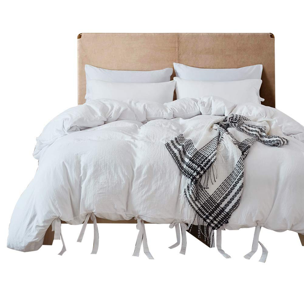 HOTNIU 3 Piece Soft Duvet Cover Set- Comfortable Breathable Luxurious Bedding Sets with Tie Design - All Season Light-Weighted Comforter Cover with 2 pcs Pillow Cover (Queen, White)