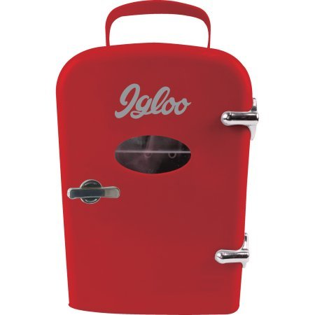 Igloo Mini Retro Beverage-Fridge,Red,Consumes Much Less Power Than Traditional Refrigerator,Store Snacks and Beverages,Compact Enough to Fit on Desk at Work,Dorm Room or Bookshelf