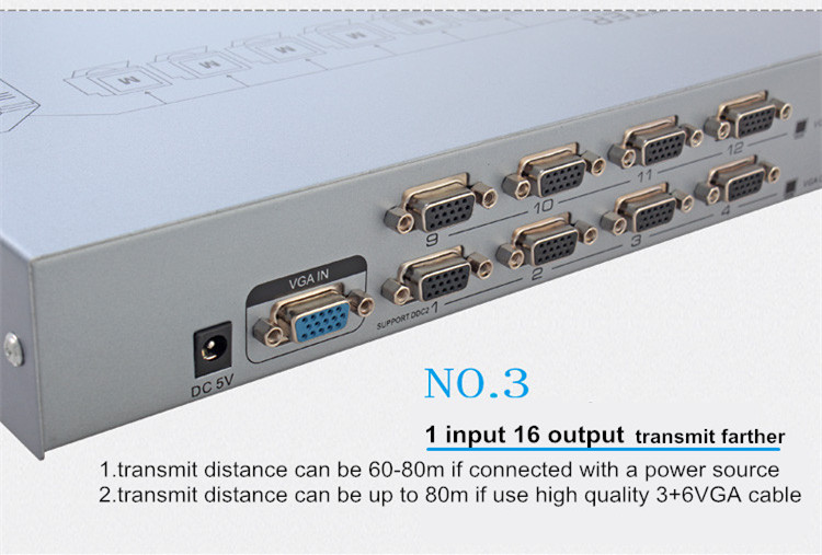 China hot selling and fashionable  support plug and play 500MHz 1x16 hd vga splitter