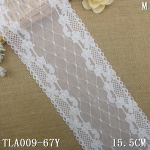 15.5cm wide white eyelet bridal stretch lace