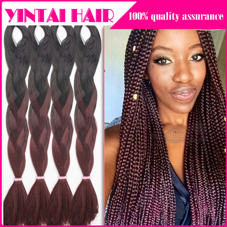 Black Dark Brown Jumbo Braiding Hair 24'' 100g African American Synthetic Braiding Hair Two Tone Styles