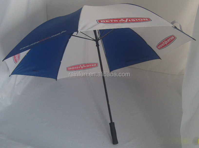 Windproof golf umbrella promotion umbrella blue and white umbrella