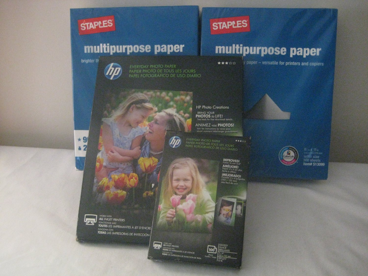 Staples Multipurpose Paper Brighter than copy Paper- Versatile for Printers and Copiers; 96 Bright, Size: 8.5 x 11in / 20 lbs (2Pack), HEWLETT PACKARD HP EVERYDAY PHOTO PAPER, GLOSSY, 4X6, 100 SHEETS (Qty 1) & HP Everyday Photo Paper, Glossy, 8.5 x 11 Inches, 50 Sheets per Pack (QTY 1)