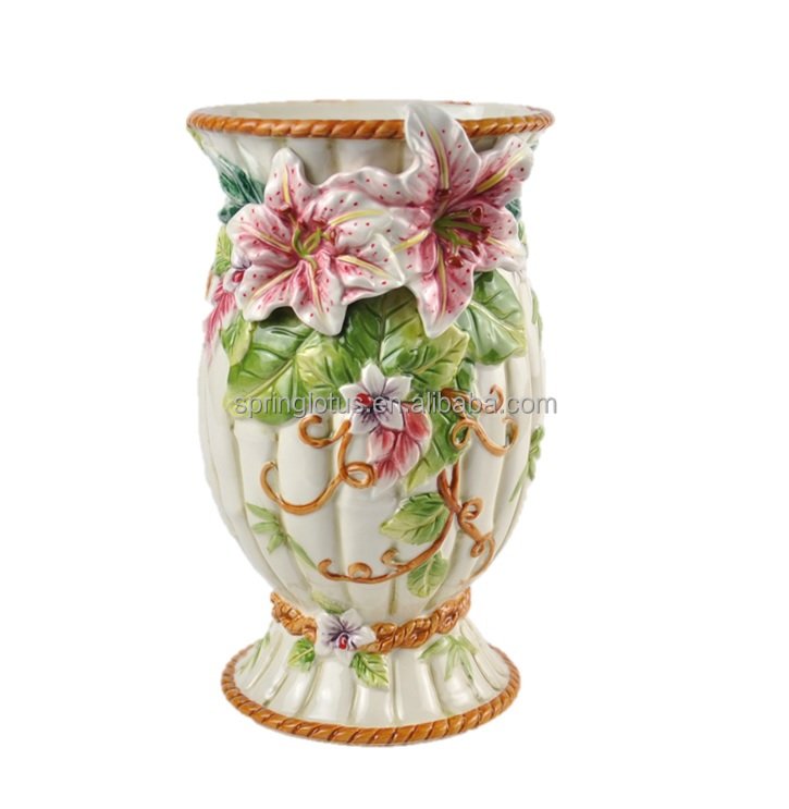 Victorian Style Ceramic Hand Painted Vasedecorative Accent For Home