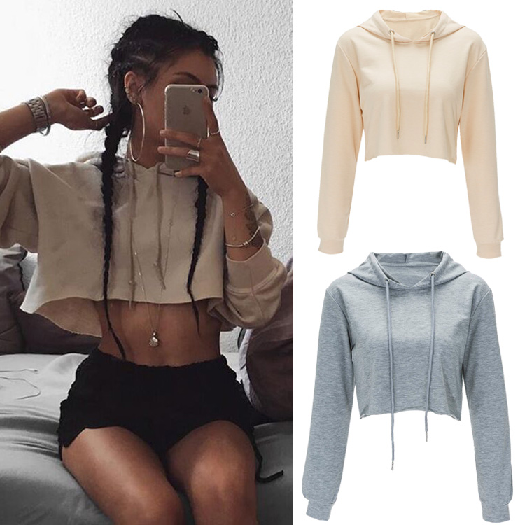 2019 Latest Design Custom Logo Summer Long Sleeve Hoodies Sexy Crop Tops for Women фото