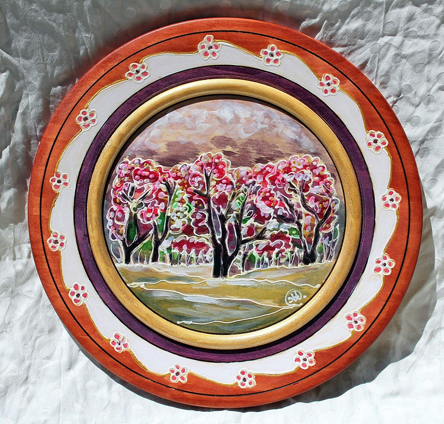 Sale!!!10% Off,Hand Painted Spring Forest on Wooden Plates, Woodland Forest, Painting Spring Landscape, Forest Wall, Art Collectible Plate, Decorative Plate.