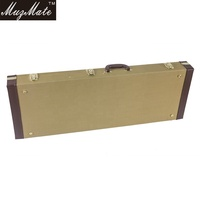 Rectangle Shaped Tweed Fabric Hardshell Guitar Case for Strat/Tele-Gold