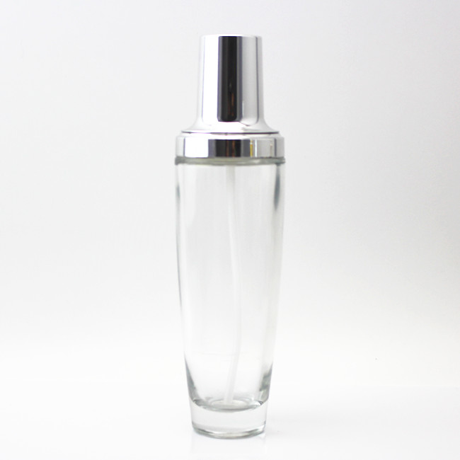 cosmetic glass spray bottles 120ml with silver lotion pump manufacturer made in China