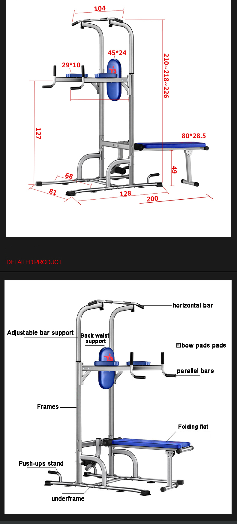 Indoor body built pull-up equipment sports for home gym