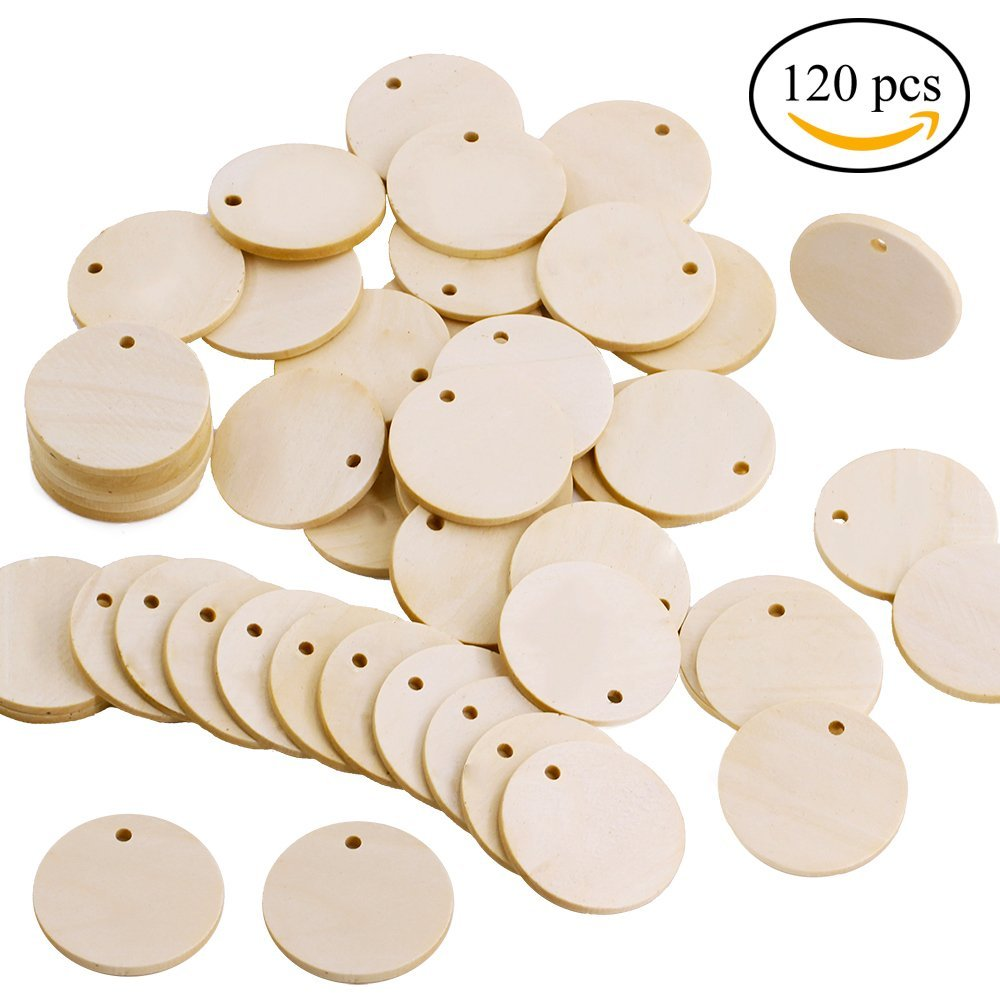 "Supla 120 Pcs Unfinished Solid Wood Pendants Round Wooden Circle Disc 1-1/2"" with 1 Holes"