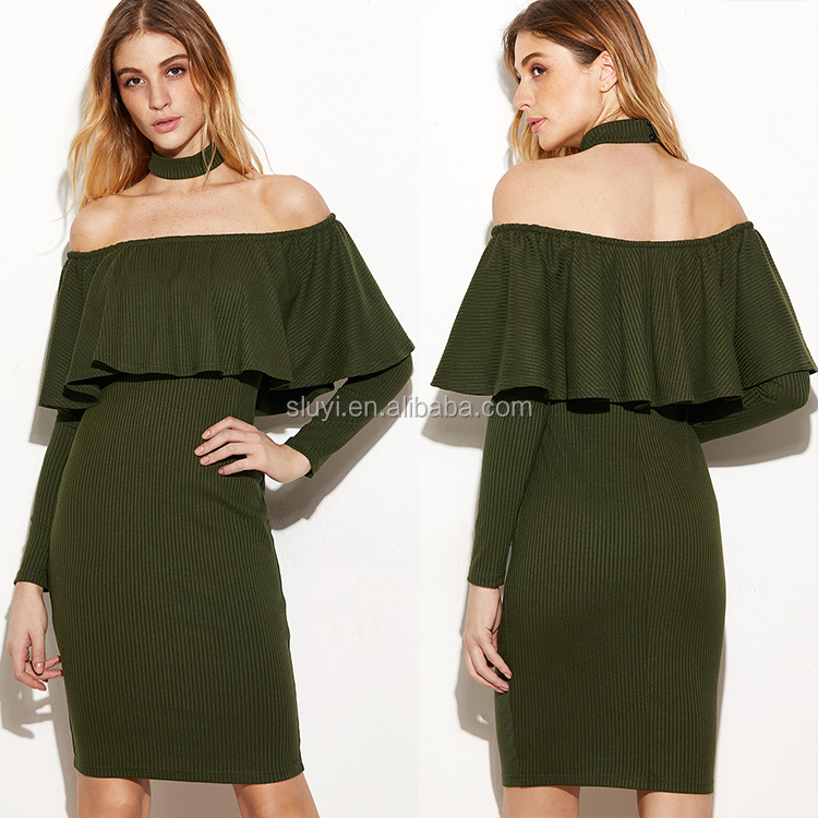 off shoulder casual dresses elegant lady plain knee length womens army green ruffle choker off the shoulder dresses with sleeves