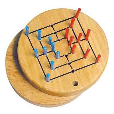 Mini Nine Men's Morris ( wooden game, wooden chess, travel game ),wooden board game