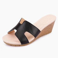 2016 Latest Styles summer black pu wedge slipper shoes women sandals