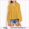 Ladies Long Sleeve Blouses Casual Tops Plain Color Pleated Dip Hem High Low Blouse