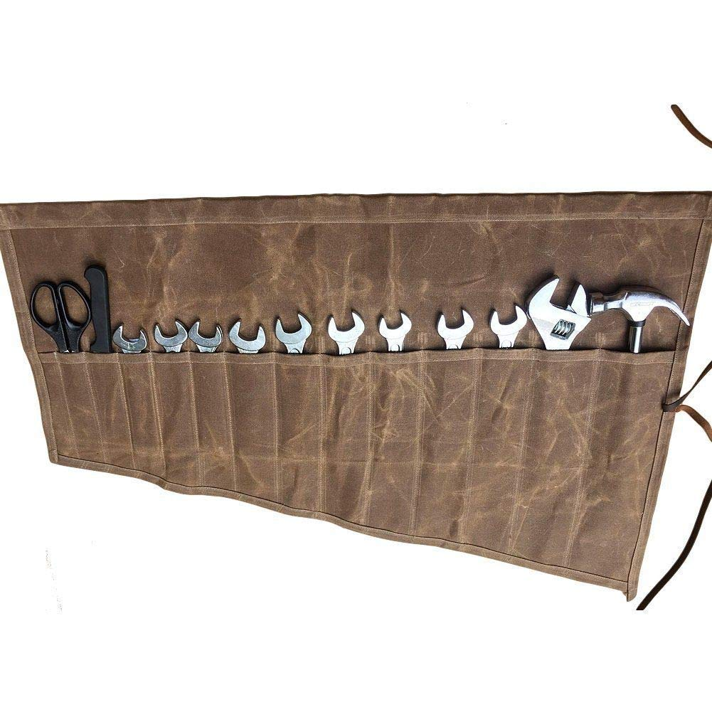 Roll Up Tool Pouch Wrench Socket Slot Organizer Canvas Tools Bag Case Waterproof