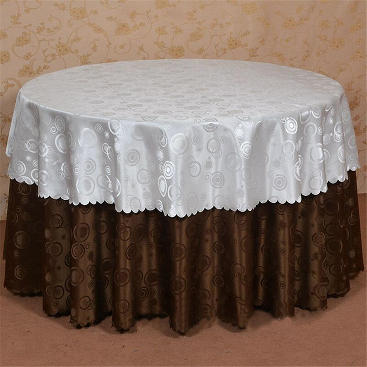 Custom Logo wholesale fabric dining Custom ruffled lace damask satin polyester or spandex table cloth