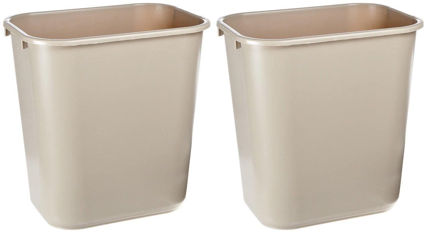 "Rubbermaid Commercial FG295600BEIG Deskside Wastebasket, 7 gallons, 28-1/8 quart Capacity, 14-3/8"" Length x 10-1/4"" Width x 15"" Height, Medium, Beige (Pack of 12) (2 PACK)"
