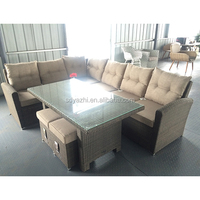 PE rattan and alu.frame outdoor sofa set with comfortable cushion with small pillows