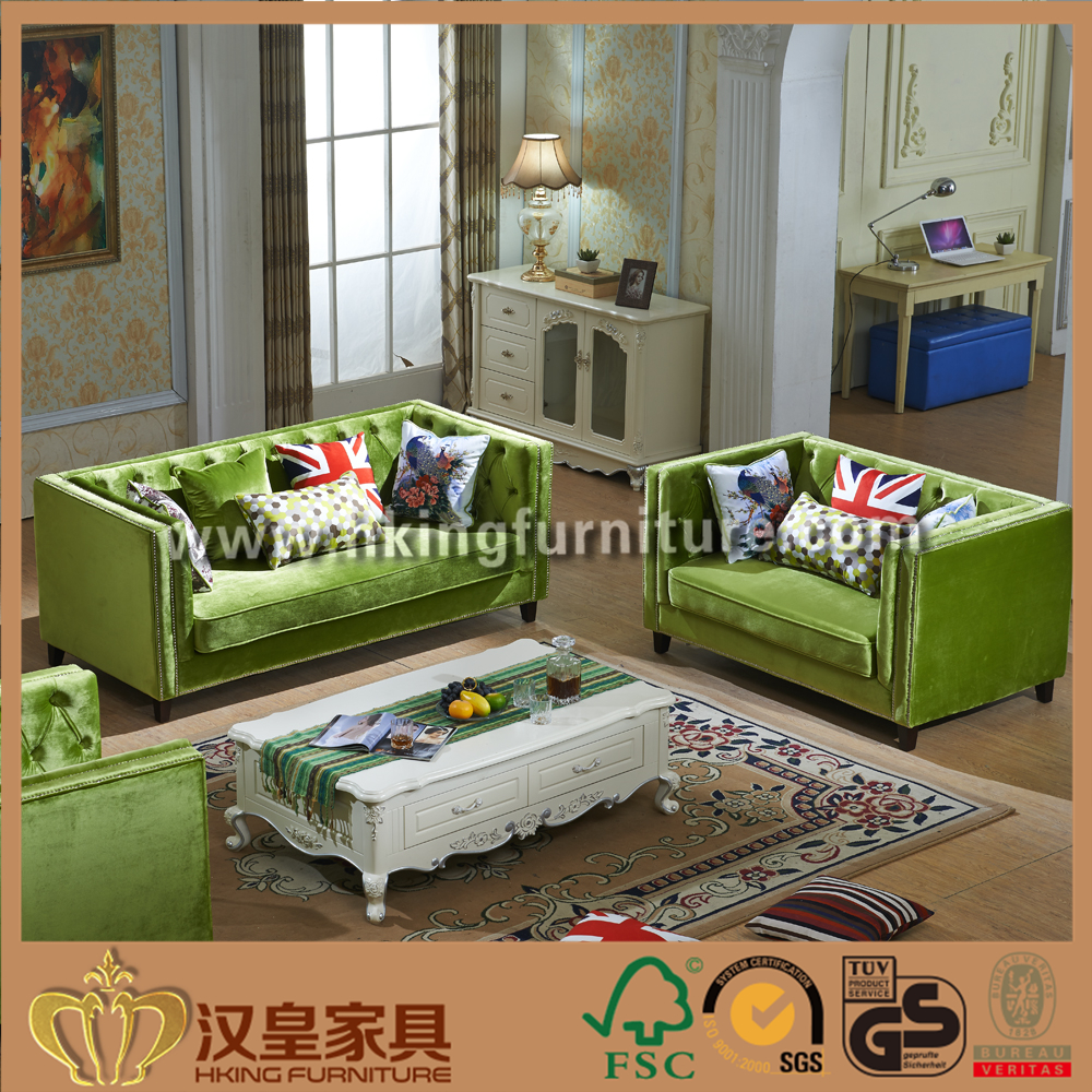 Green Fabric Sofa, Silver Gold Fabric Sofa, Fabric Settee Supplier In China