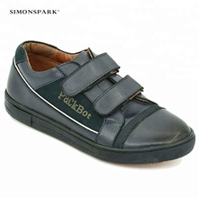 High Quality Students New design blue Genuine Leather Boy Kids Casual Shoes