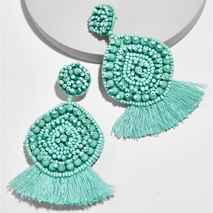 Kaimei Bohemian Jewelry Wholesale Women Handmade Silk Thread Fringe Earring Teardrop Seed Beaded Tassel Earrings For Women 2019