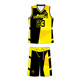 Cheap wholesale reversible basketball jerseys with sublimation numbers basketball uniform design color black and yellow