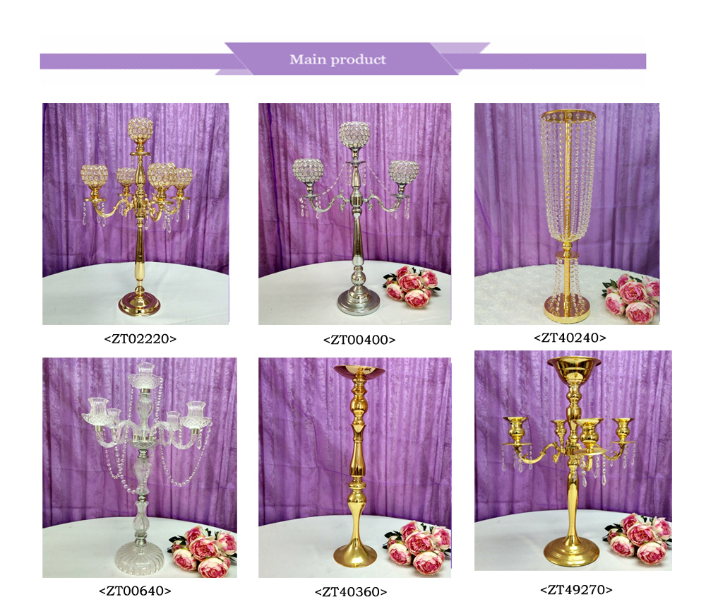 ZT40360  single gold  long stem candle holder gold candle stick holders for wedding