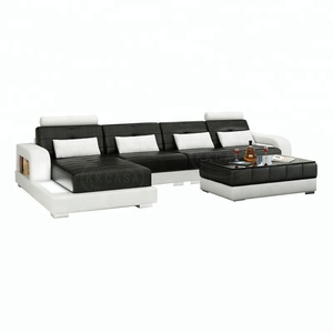 Diwan Small Dimension Adjule Headrest Type Modern Simple Design Leather L Shape Sofa Set In India