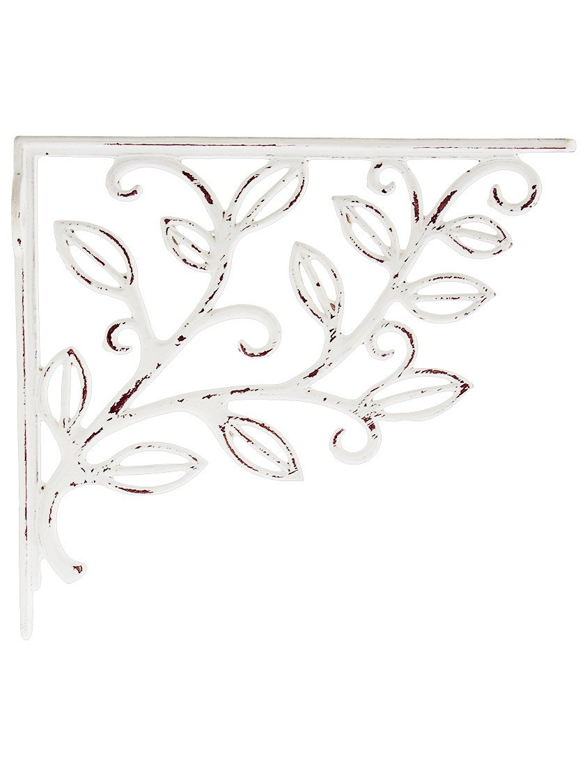 House of Antique Hardware R-010SE-0700012 Leafy Branch Cast Iron Shelf Bracket in Antique White