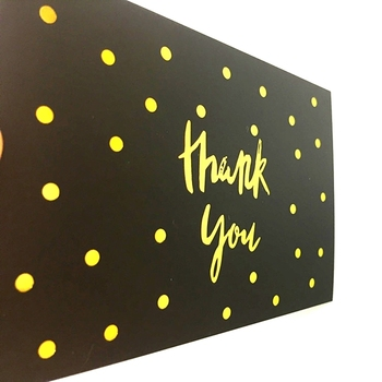 Gold Foil Hot Stamping 4x6 Inches Black Thank You Cards For Promotion
