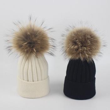 2018 Best Selling Baby Kids Raccoon Fur Pom Poms Knitted Wool Hats ... 22dead85a6d