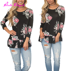 3/4 Sleeve Floral Blouses famous brand name korea wholesale round neck t-shirt