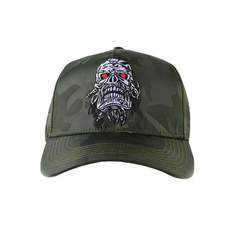Custom Skull Embroidery 5 Panel Hat Camo Baseball Caps