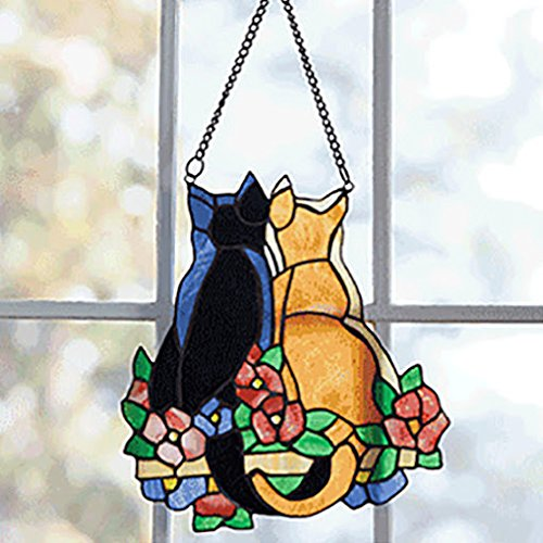 Hand-crafted Cat Pair Stained Glass Window Art