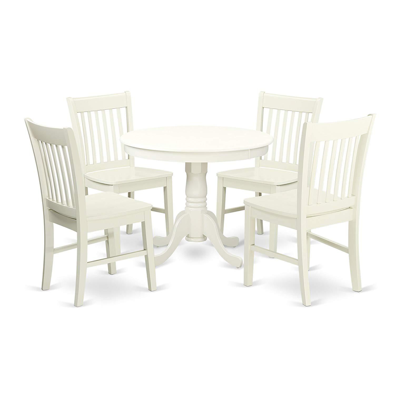 East West Furniture ANNO5-LWH-W Kitchen Set, 5 Pieces, Linen White