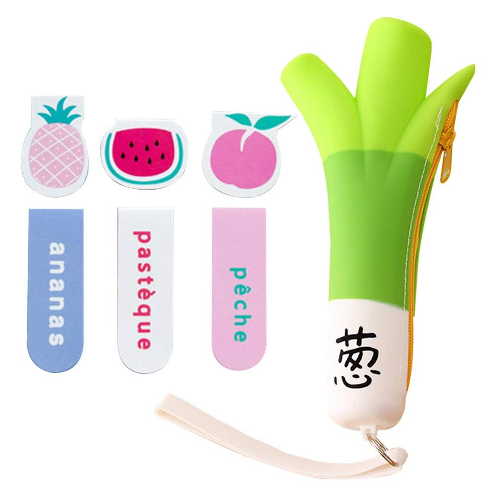 6 Pcs One Set Different Fruit Magnetic Bookmarks Premium Quality Paper Clip School Supplies with Bag