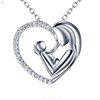Heart Mother's Day Mother And Child Pendant S925 Sterling Silver Necklace Jewelry