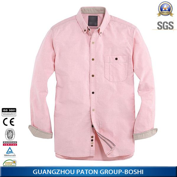 wholesale custom fashion style pocket  boy's classic solid pink color men oxford shirt