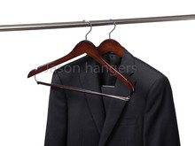 CT7721N wooden suit hanger with chrome locking bar and chrome hook