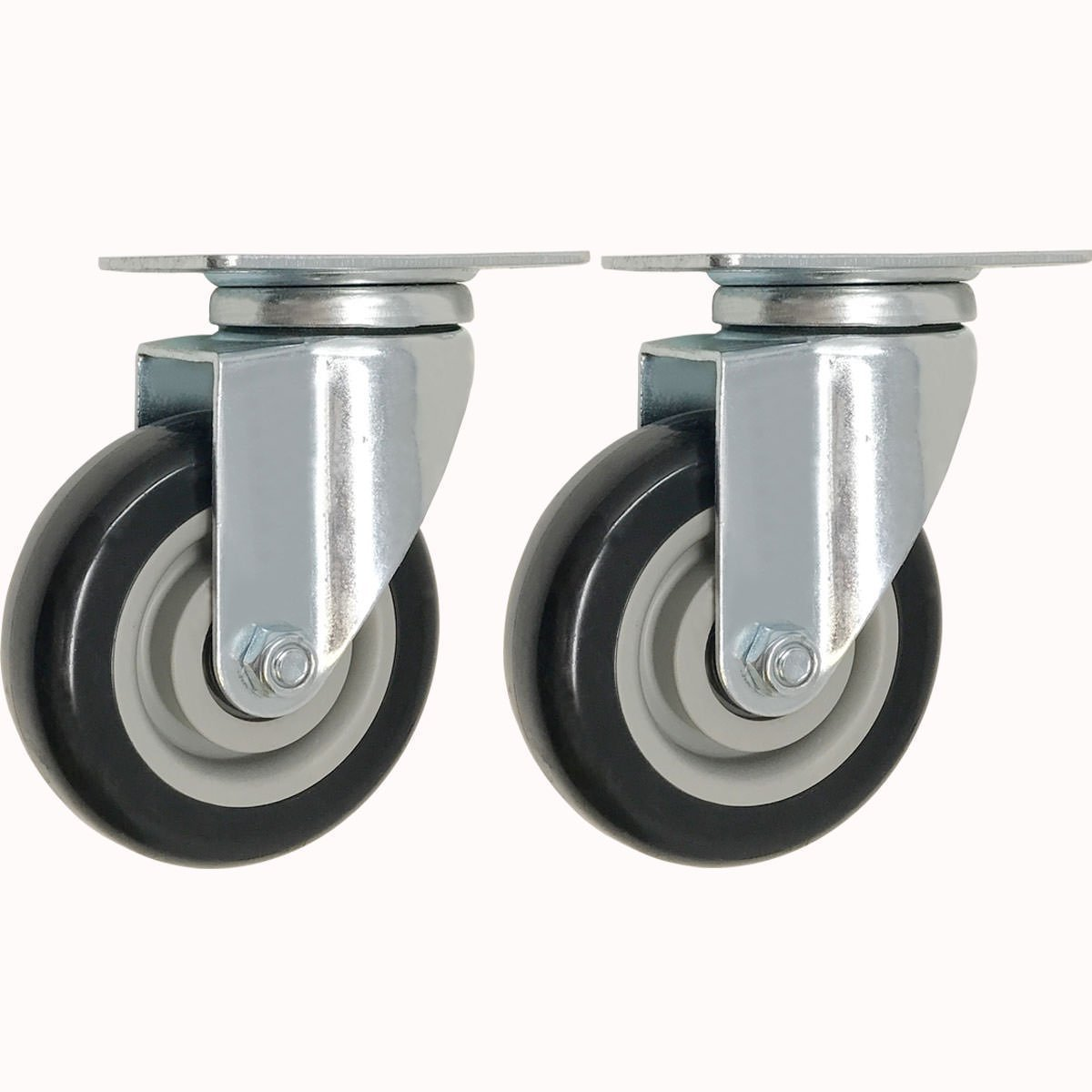 FactorDuty 2 Pack Caster Wheels Swivel Plate On Black Polyurethane Wheels (4 inch Plate)